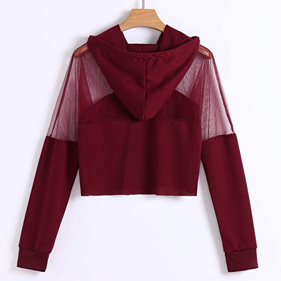 Amazon.com: Women Long Sleeve Hoodie Sweatshirt Long Sleeve Hollow Out Patchwork Drawstring Pullover Tops Autumn Blouse: Arts, Crafts & Sewing