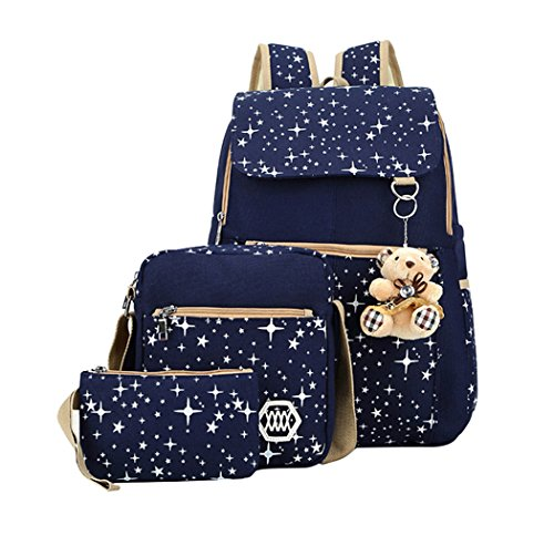 Adanina Preppy Style 3Pcs Elementary School Bag Canves Casual Daypack Book Bags Travel Knapsack Bags for Primary Junior High School