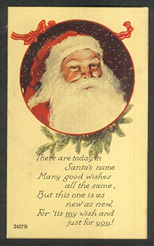 Santa Claus portrait garland snow Christmas postcard 1920s - Santa Claus Portrait