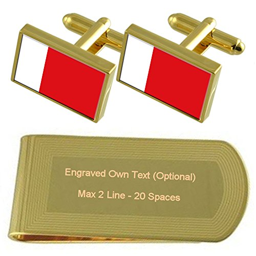 Gold Clip Gift Cufflinks Dubai Set Engraved Money tone Flag v5xwnnqzS
