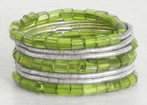 DollsofIndia Green Beaded Adjustable Ring - Free Size (FG65)
