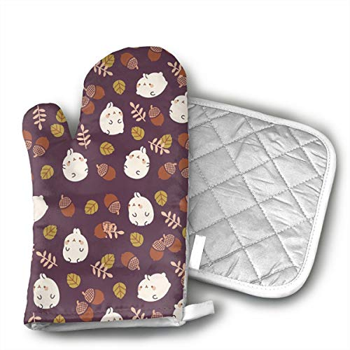 Pinecone Oven Mitt - GUYDHL Unisex Oven Mitt and Pot Holder for Rabbits and Pinecones - 2 Pair