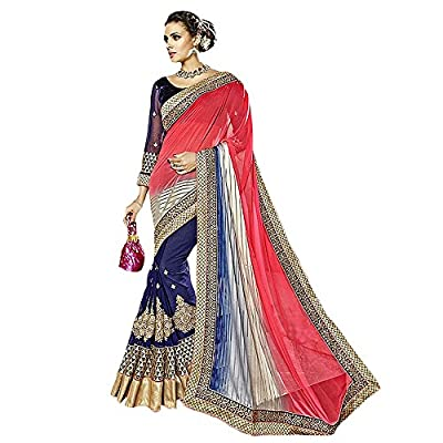 Shree Designer Sarees Women's Lovely Blue And Red Lycra Saree