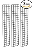 Grid Panel for Retail Display – Perfect Metal Grid for Any Retail Display, 1' Width x 5' Height, 3 Grids Per Carton (Black)