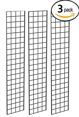 Grid Panel for Retail Display – Perfect Metal Grid for Any Retail Display, 1' Width x 5' Height, 3 Grids Per Carton (Black) by Econoco