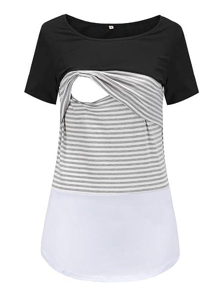 ecf875d8b25fb Liu & Qu Women's Maternity Lace Striped Nursing Tops Short Sleeve Stitching Breastfeeding  T-Shirt
