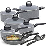 BLACK+DECKER 83355 14 Piece Durable Titanium Nonstick Interior Cookware Set, Multi-Size, Granite