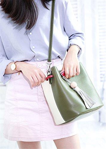 Xinmaoyuan Mujer bolsos de cuero Bolsos Bolso Messenger verano Piel de Vaca de primera clase Color Hit Wild Borla Simple señoras bolso de cuchara,verde Green