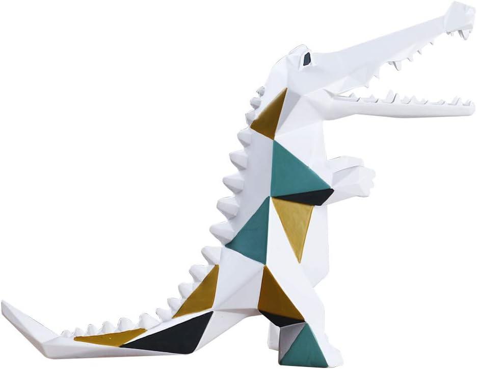 Amoy-Art Coccodrillo Geometrico Statua Figurina Scultura Decorazione per Casa Regali Fatti a Mano Souvenirs Vernice Sicura per Bambini Confezione Regalo Polyresin 17cmL