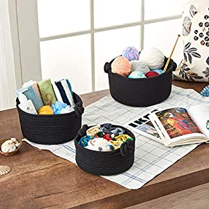 EZOWare Set of 3 Decorative Soft Knit Baskets Bins Storage Organizer, Perfect for Storing Small Household Items – Black