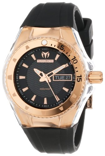 TechnoMarine Women's 110037 Cruise Original Star Rose-Tone Stainless Steel and Black Silicone Watch