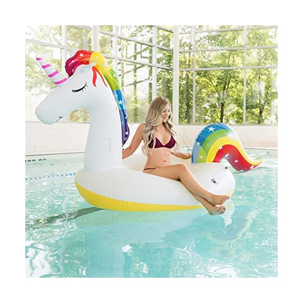 Giant Inflatable Unicorn Pool Float – Rapid Inflate and Deflate, Cup Holder, Safety Grab Handles, CE and SGS Certified… 7