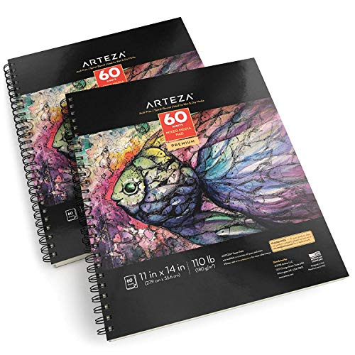 "ARTEZA 11x14"" Mixed Media Sketch Book, 2 Pack, 110lb/180gsm, 120 Sheets (Acid-Free, Micro-Perforated), Spiral-Bound Pad, Ideal for Wet and Dry Media, Sketching, Drawing, and Painting by ARTEZA (Image #1)"