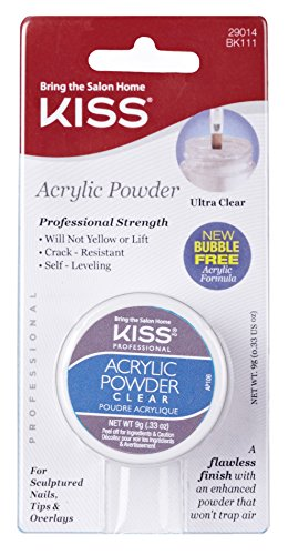 Kiss Acrylic Powder Clear 0.33 Ounce (10ml) (2 Pack) by Kiss