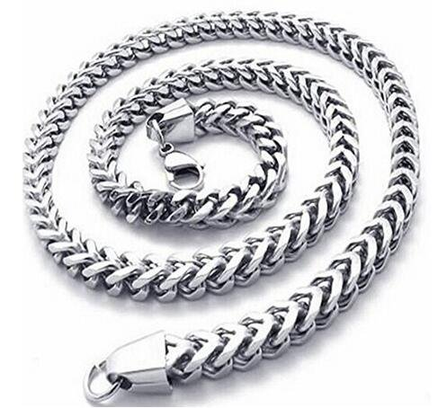 Bone Double (WIBERN 3-6 MM Stainless Steel Men Curb Double Bone Chain Long Necklace Male Jewelry 18-30 Inches (6MM, 20 inches))