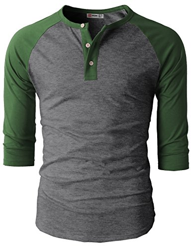 H2H Men's Active Slim Fit Raglan Baseball 3/4 Sleeve Henley Lightweight T-Shirts DarkGreen US S/Asia M (CMTTS0174)