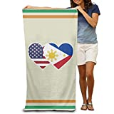 Stylish Shop Philippines USA Flag Twin Heart Quick-Drying Pool Beach Towel Travel Bath Towel for Adults