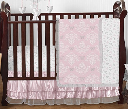Pink, Gray and White Shabby Chic Alexa Damask Butterfly Girls Baby Bedding 4 Piece Crib Set Without - Organza Sheet