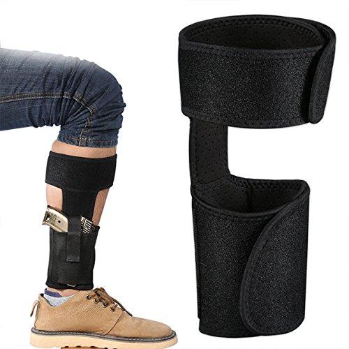 ZHW Running Ankle Holster Adjustable Neoprene Holster For Concealed Carry | Pistol, Handgun, Revolver Holster With Non Slip Calf Strap (Black)