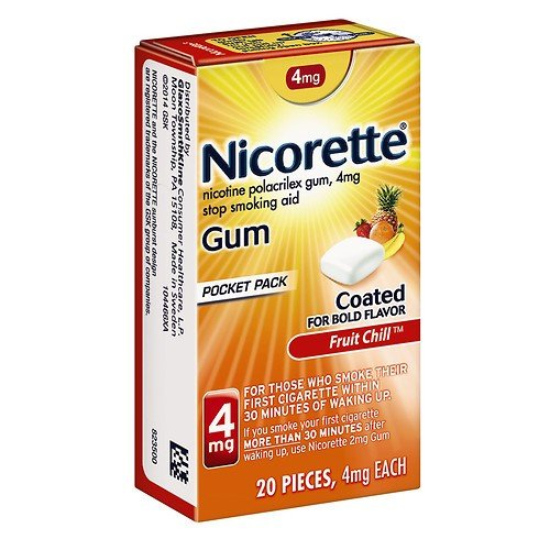 Nicorette Stop Smoking Aid Gum Fruit Chill Pocket Pack, 20 Count