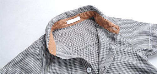 Boys Plaid Button Down Shirts Turn-Down Collar Short Sleeve Cotton Tops Color Grey Size 6A by Snowdreams (Image #4)