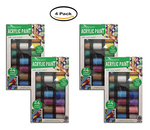PACK OF 4 - Permanent Acrylic Paint, 24 Pack by Horizon Group USA
