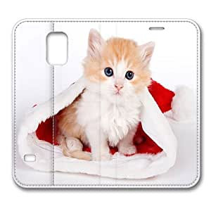 Leather Samsung Galaxy S5 Flip Case Cover, Christmas Kitten In A Santa Hat Premium Leather Flip Case Cover for Samsung Galaxy S5 / S V / I9600 with Stand Feature/ Auto Wake Up / Sleep, Original Design And Made By PhilipHayes