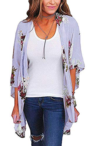 Womens Kimono Cardigan Beach Cover Up Floral Chiffon Loose Capes (Light Purple,XL)