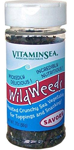 Dulse Kombu Wakame Nori Seasoning - Savory Flavor 2oz Shaker Wild Weeds Organic Seaweed - Garlic - Soy Sauce - Fucoidan Rich Sea Vegetables - Hand Harvested Atlantic Ocean Maine Coast VitaminSea (Svy)