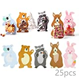 Luxcathy Party Favor Mini Snack Packing Bags - 25 Counts, 5 Animal Patterns, Super Cute Rabbit, Raccoon, Koala, Bear, Kangaroo Gift Bags for Candies, Cookies, Chocolates, Biscuits