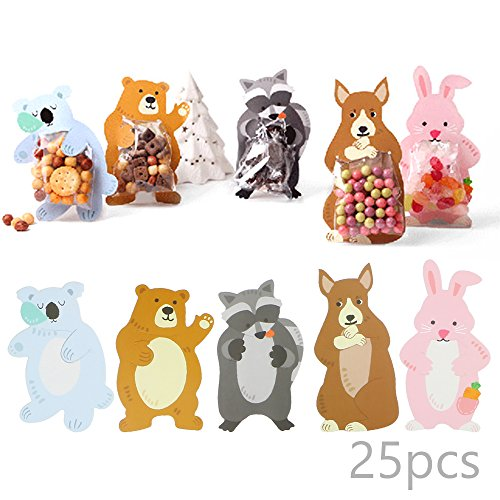 Luxcathy Party Favor Mini Snack Packing Bags - 25 Counts, 5 Animal Patterns, Super Cute Rabbit, Raccoon, Koala, Bear, Kangaroo Gift Bags for Candies, Cookies, Chocolates, Biscuits by Luxcathy