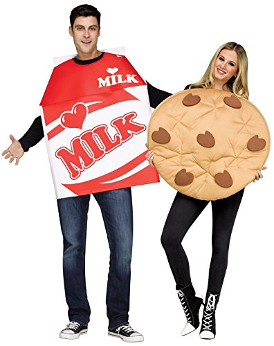 (Fun World Unisex Cookies & Milk Adult Cstm, Mulricolor)