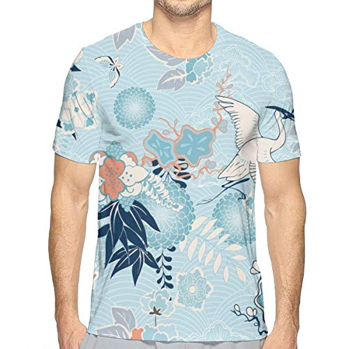 Kimono Pattern Crane with Flower Men's Summer Novelty Short Sleeve Crewneck Tees Casual Tops -