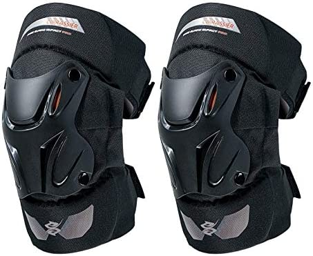 Motorcycle Knee Pads Guards Cuirassier Elbow Racing Off-Road Protective Kneepad Motocross Brace Protector Motorbike Protection-1 Pair E01-2-Black