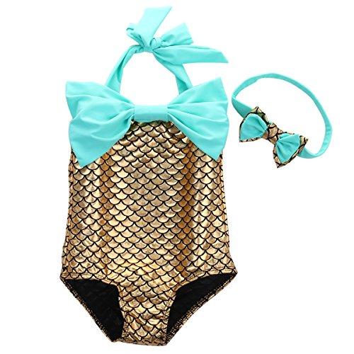 Baby Girls Little Mermaid Bow Squama Bikini Set Swimwear Swimsuit Bathing Suit (3-4 Years, Golden) (Mermaids Sexy)