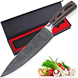 Kings Damascus Chef Knife, 8 Inch Professional High Carbon Stainless Steel Kitchen Chefs Knife Composit Wood Handle Sharp with Gift Box