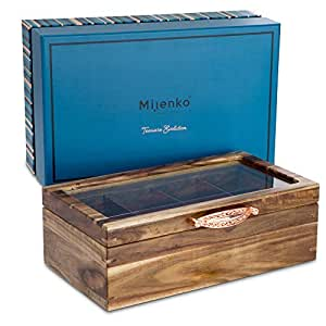 Mijenko Wooden Tea Box Chest with Glass Lid Beautiful Wood Storage Display Boxes Tea Bag and Loose Leaf Holder and Organiser Luxury Gift Set Rose Gold Wedding Birthday Engagement Xmas Anniversary