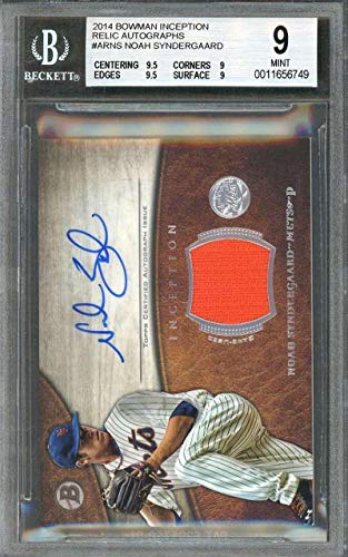 2014 Bowman Autographs - 2014 bowman inception relic autograph #arns NOAH SYNDERGAARD BGS 9 (9.5 9 9.5 9) - Baseball Slabbed Autographed Cards