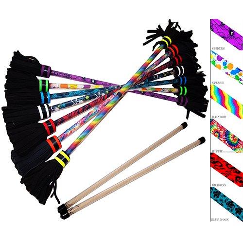 Hoop And Stick (Flower Stick Set - Art-Deco (6 Designs) + Silicone Wooden Hand Sticks! Pro Flower Sticks For Kids & Adults! (Rainbow))
