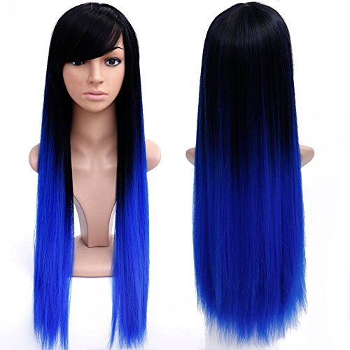 WTB Hair 28'' Long Ombre Colored Wigs Long Synthetic Wigs For Black Women Natural Ombre Blue Wig Cosplay Cheap Hair Wigs For Women (XP 12 BLUE) (Colored Hair Wigs)