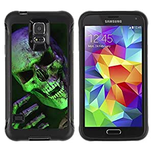 KROKK CASE Samsung Galaxy S5 SM-G900 - Halloween scary green skull vampire - Rugged Armor Slim Protection Case Cover Shell