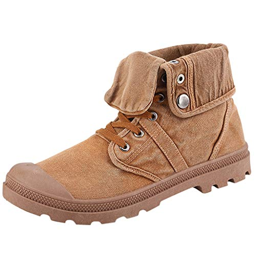 Price comparison product image QueenMMQueenMM Boots Mens Baggy Canvas Boots Lace-Up Ankle Bootie Army Green / Yellow / Gray