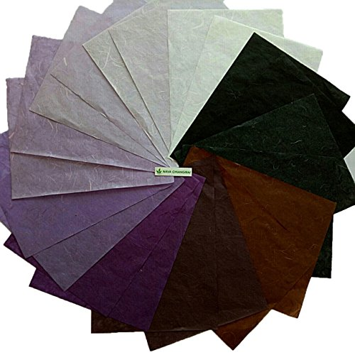 NAVA CHIANGMAI Thin Standard Color of Mulberry Paper Sheets Paper Decorative DIY Craft Scrapbook Wedding Decorative Mulberry Paper Art Tissue Japan (Purple Tone) by NAVA CHIANGMAI Mulberry paper sheets