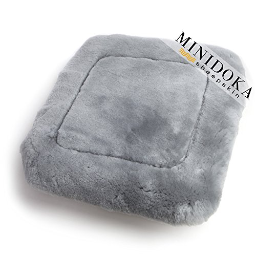 Leather Trimmed Wool - Desert Breeze Distributing Australian Sheepskin Seat Pad, Thick Short Wool, Natural Leather for Premium Fit, Non-Slip Backing, Gray, 20 x 20, Minidoka Sheepskin