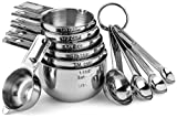 Hudson Essentials Stainless Steel Measuring Cups and Spoons Set - 11 Piece Stackable Set
