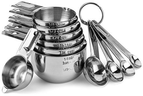 Hudson Essentials Stainless Steel Measuring Cups and Spoons Set - 11 Piece Stackable Set (Cup 1 Cup Stainless Steel Measuring)