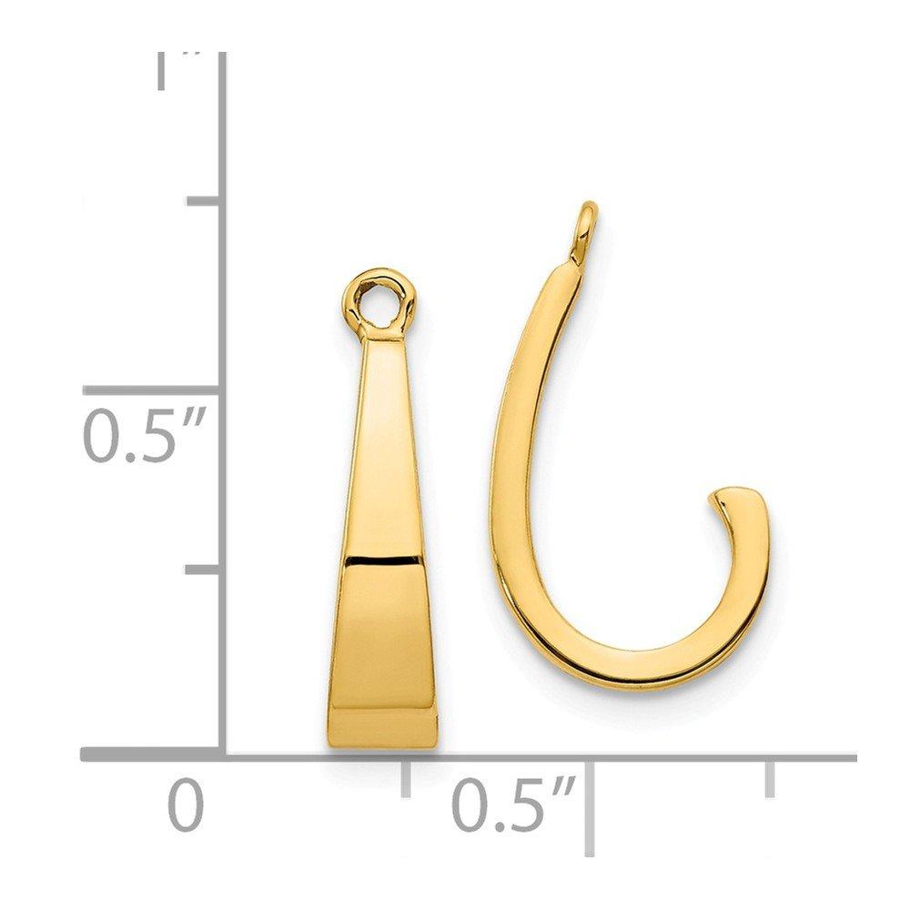 14k Yellow Gold 0.7IN Long Polished J-Hoop Earrings