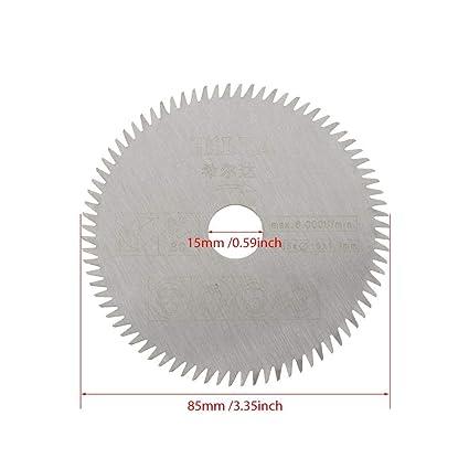 80 Dientes HSS//Hoja de Sierra de Diamante 36 Dientes de Pl/ástico Bewinner 5Pcs 85mm Di/ámetro Interno 15mm Mini Hoja de Sierra Circular de Carburo para Herramienta de Corte 24 Dientes TCT