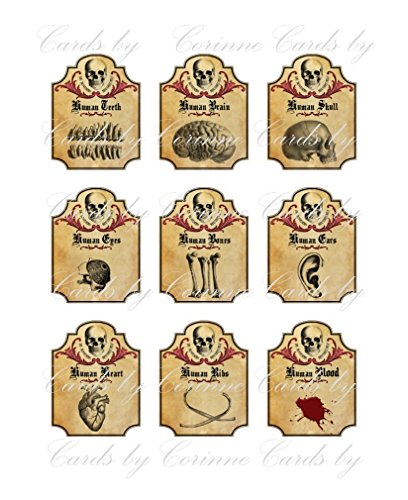 Halloween grunge steampunk bottle apothecary labels set of 9 human ears, ribs blood glossy laminated ready to use for $<!--$9.95-->