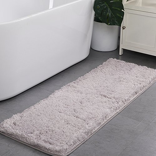 Uphome Shaggy Bath Runner, Non-Slip Ultimate Soft Microfiber Extra Long Bathroom Mat Solid Light Grey Shower Accent Rug Kitchen Carpet, Water Absorbent Machine Washable, 18''W x 45''L (18' Long Polyester)